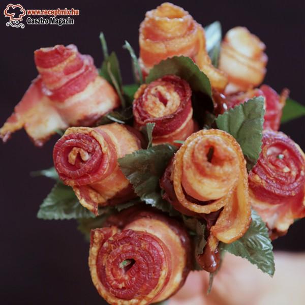 Furcsaság ebédidőben - Bacon rózsa