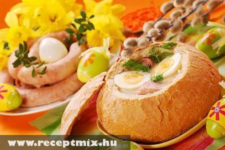 Lengyel húsvéti leves cipóban