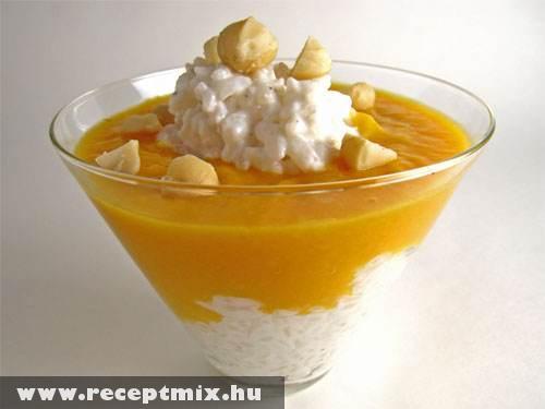 Puding: mangó, kókusz, rizs, karamell - fincsi!