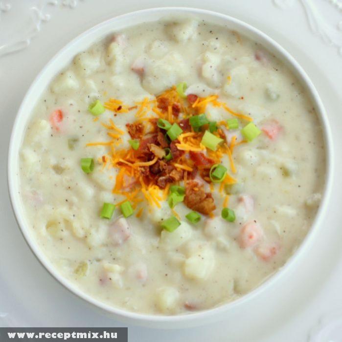 Krumplis-sonkás leves