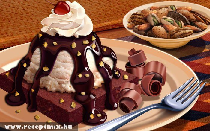 Tejszínes-csokiöntetes sütemény