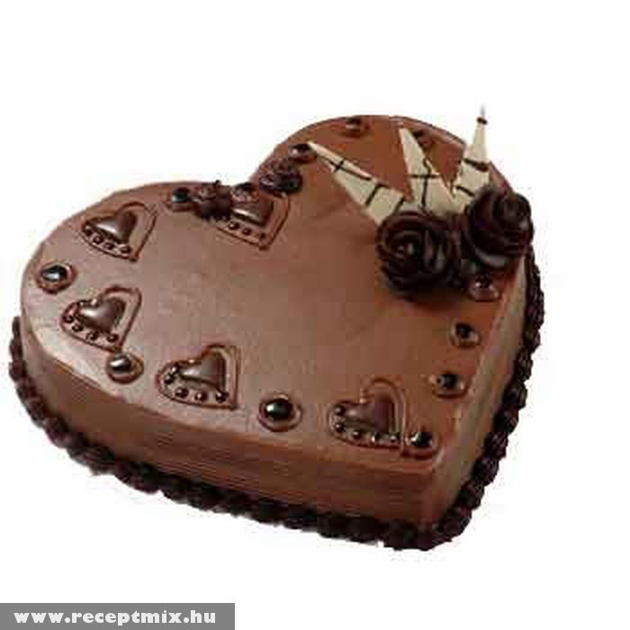 Szív alakú csokitorta