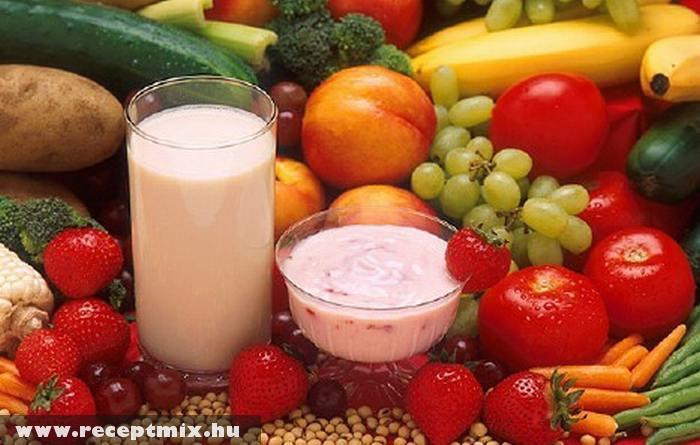 Zöldség, gyümölcs, tejtermék