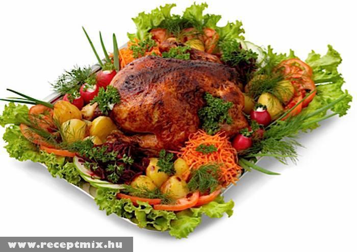 Egészben sült csirke zöldségekkel
