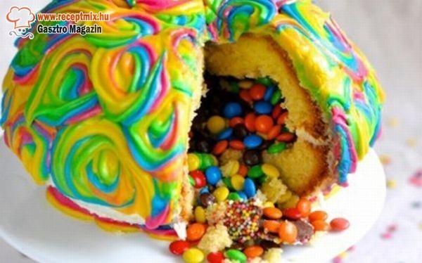 Cukorkákkal töltött torta