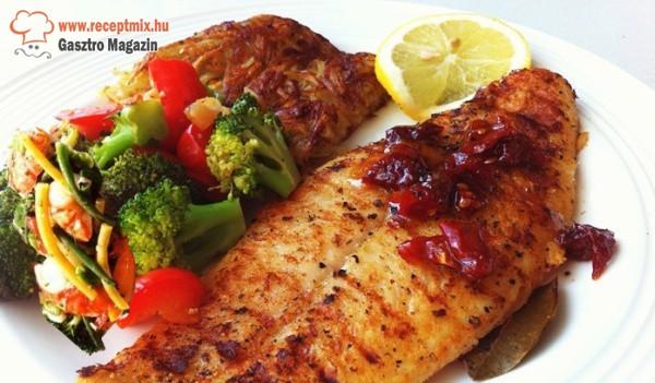 Grillezett hal, zöldségekkel