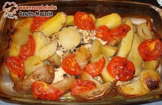 Tepsis husi vegyes zöldségekkel