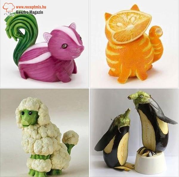 Zöldségből, gyümölcsből készült állatok