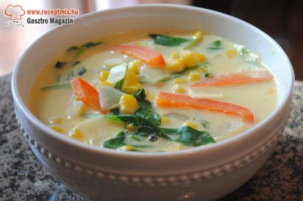 Zöldséges kukorica leves