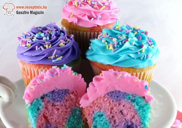 Színes-habos muffinok