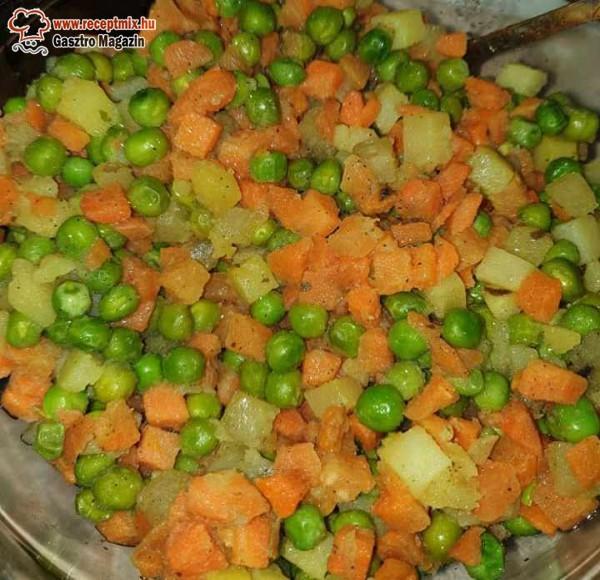 Borsó, répa, zöldség köret párolva