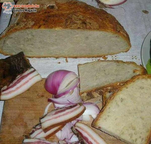 Szalonna, kenyér, lila hagyma