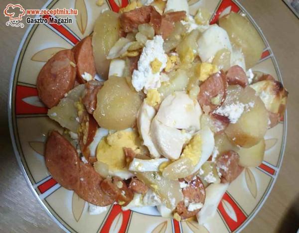 Rakott krumpli, hagyományos, kolbásszal