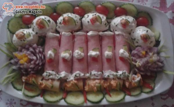 Ünnepi tál, hús, zöldségek