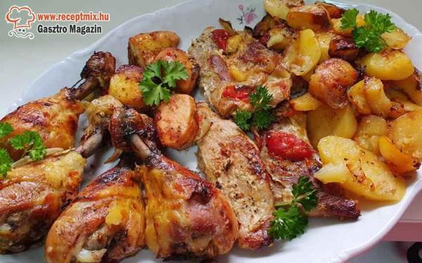 Sültes tál, krumpli és zöldség köret