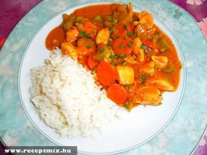 Zöldséges mártás rizzsel