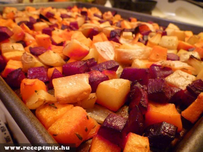 Sült gyümölcsök és zöldségek