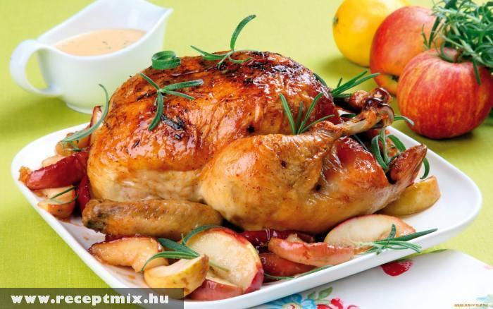Egészben sült csirke, sült almával