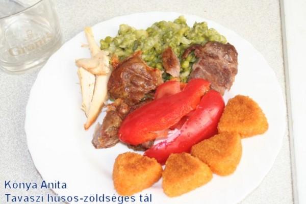 Kónya Anita: tavaszi húsos-zöldséges tál camambert sajttal