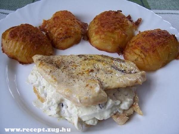 Csirkemell fetasajttal töltve sündisznó burgonyával