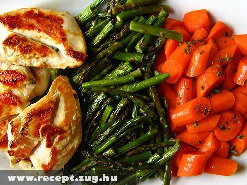 Párolt zöldséges csirkemell