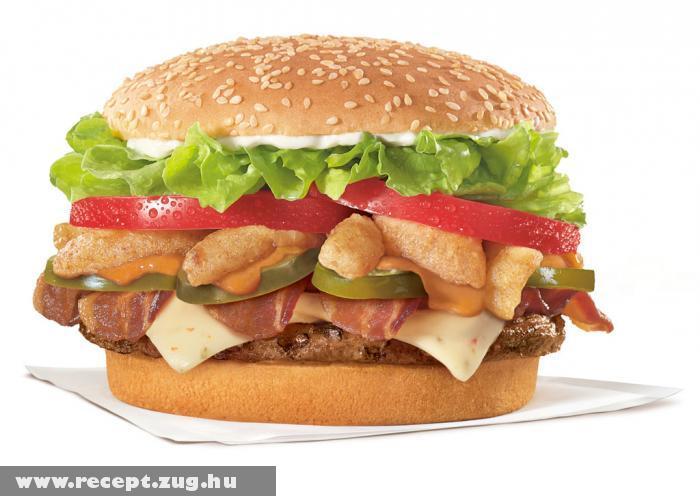 Extra húsos hamburger