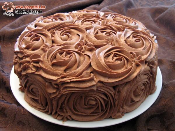 Csokis - tejszínes rózsatorta