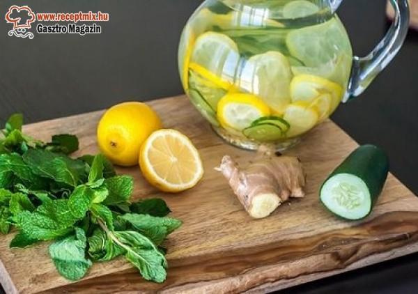 Gyömbér, citrom, menta, uborka, fogyókúrás víz