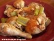 Pácolt csirkecomb, mell sütve