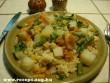 Zöldbab, burgonya és Garbanzo bab karfiol mártással
