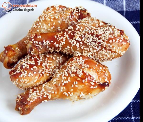 Szezámmagos-mézes csirkecombok