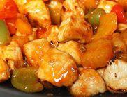 Ananászos-narancsos csirkekockák